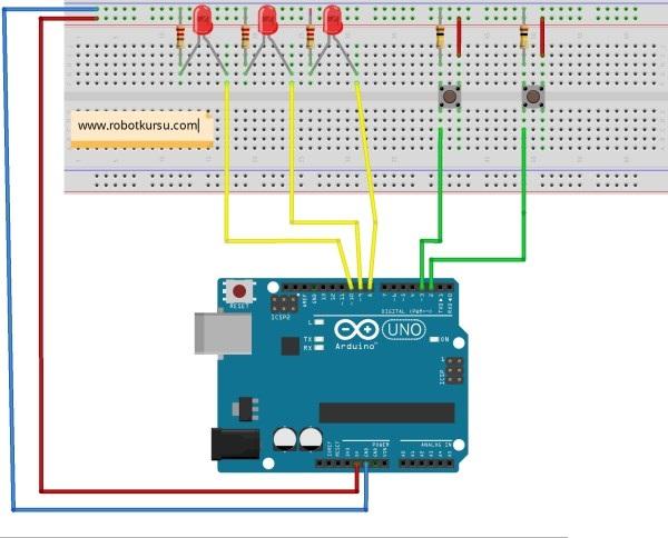 Buton ile LED yak söndür uygulaması