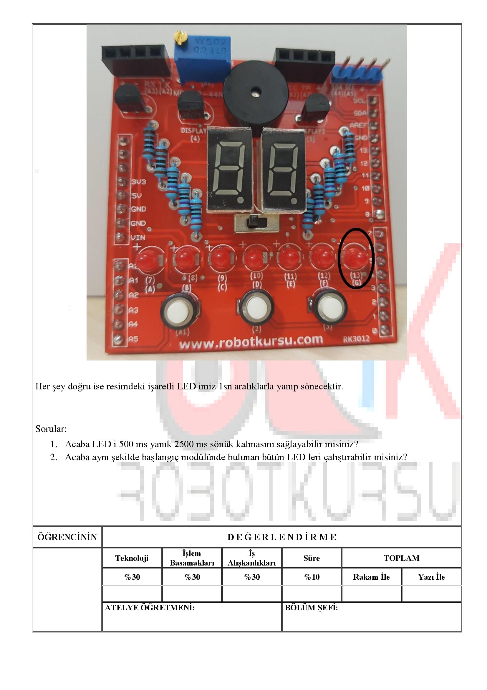 Temrin 105 : Blink LED uygulaması
