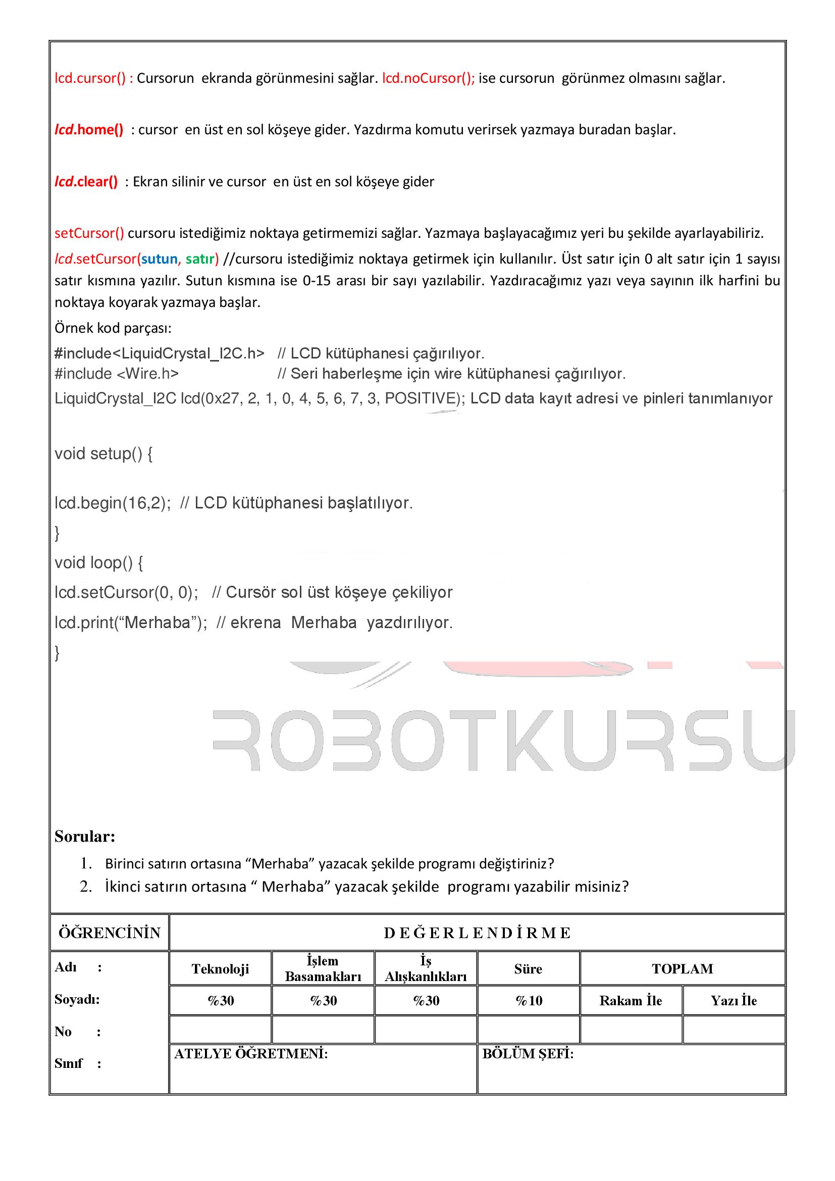 Temrin 114 : LCD kullanımı