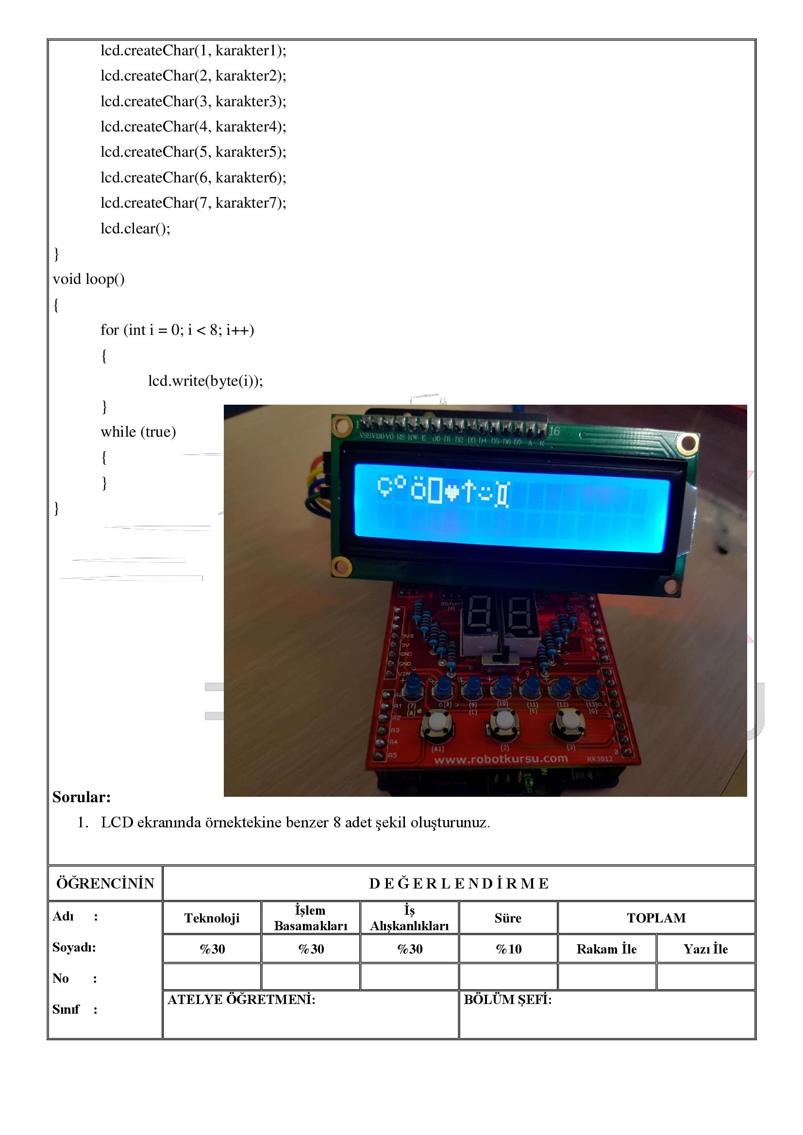 Temrin 116: LCD de özel karakterleri oluşturma