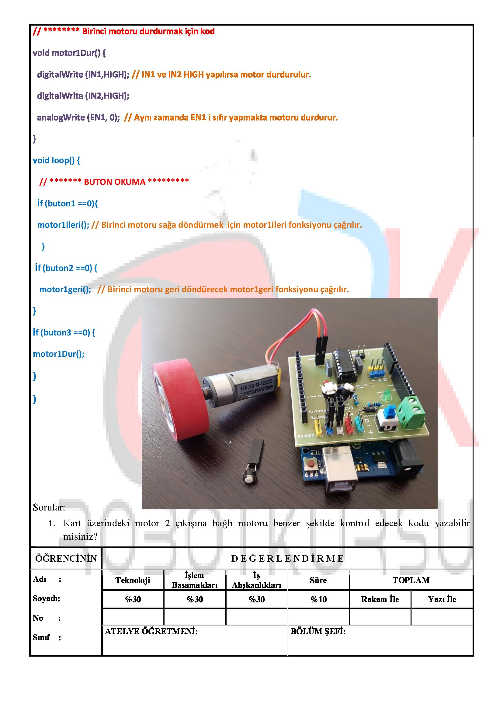 Temrin 118 : Buton ile motor yön kontrolü