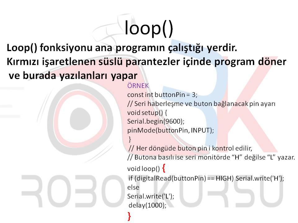 Ders 5: Arduino programı içindeki ana fonksiyonlar