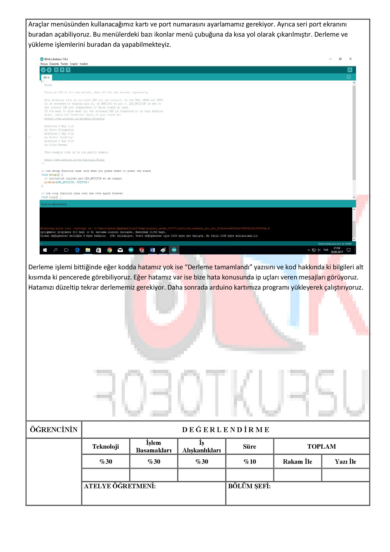 Temrin 103:     Arduino IDE programının kurulumu ve menülerinin tanıtılması