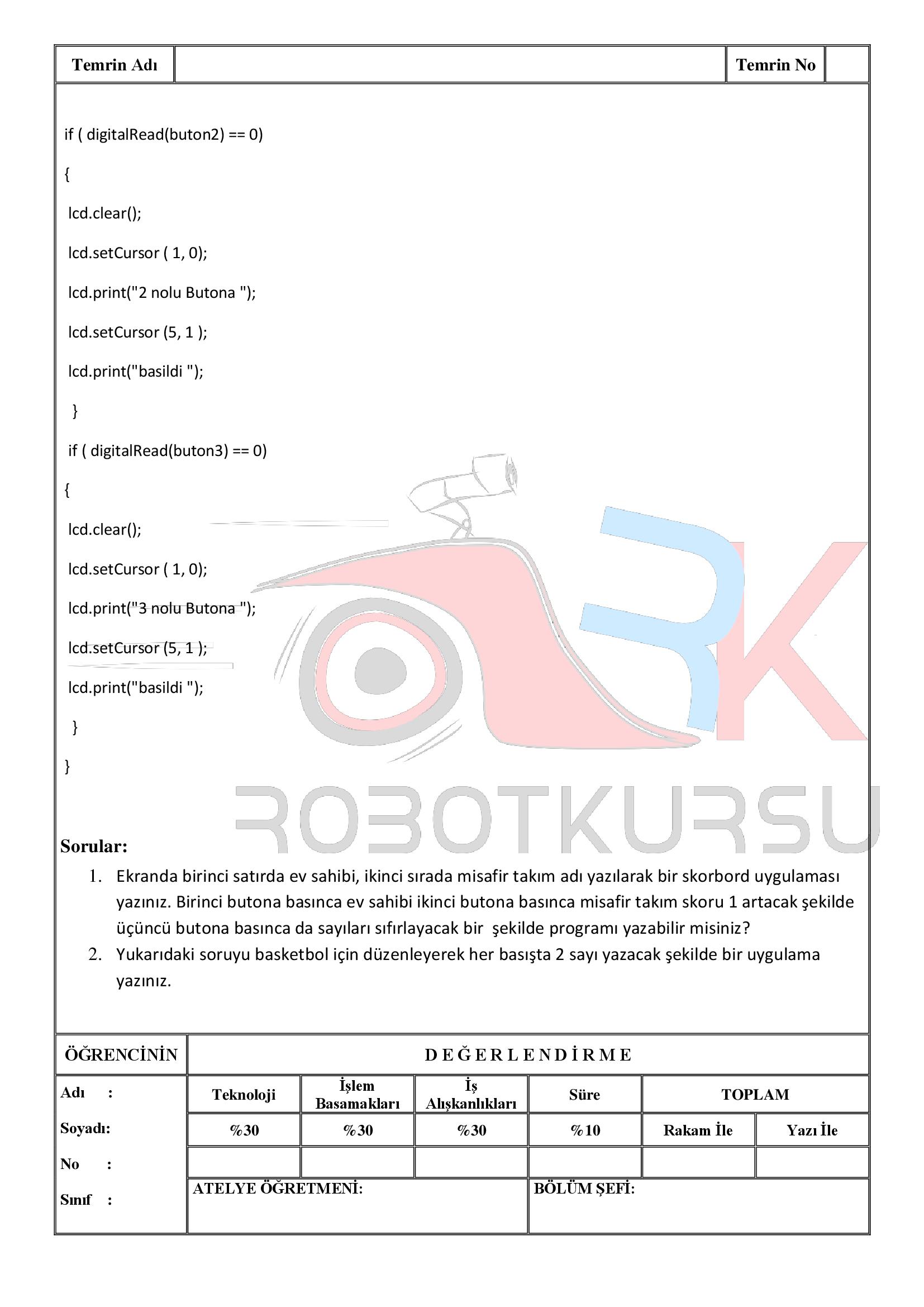 Temrin 115: LCD de buton uygulaması